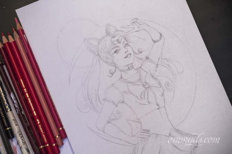 Sailor Chibi Moon sketch on final paper