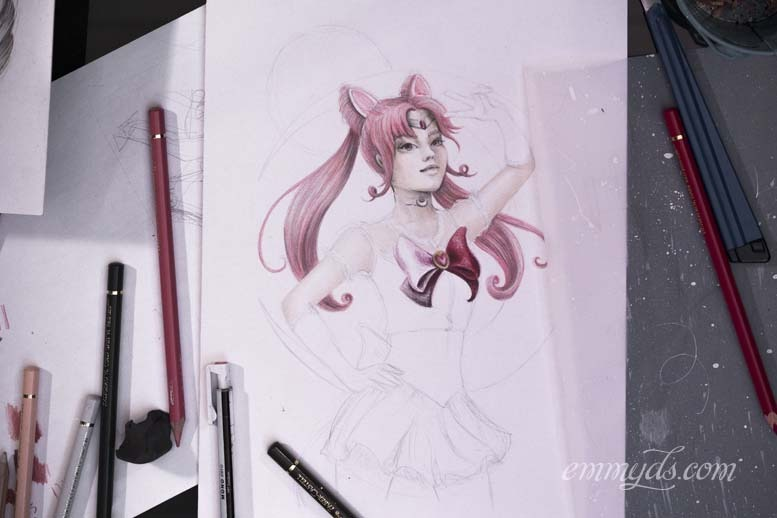 Sailor Chibi Moon in progress.