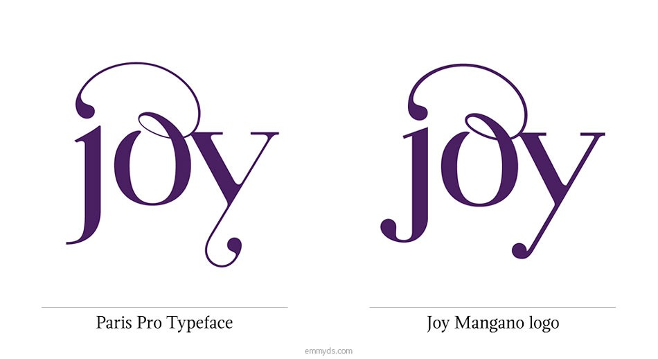 The original 'jo' ligature and 'y' made with Paris Pro, compared with Joy Mangano logo